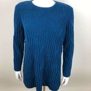 J Jill Chenille Cable Knit Sweater Pullover Teal